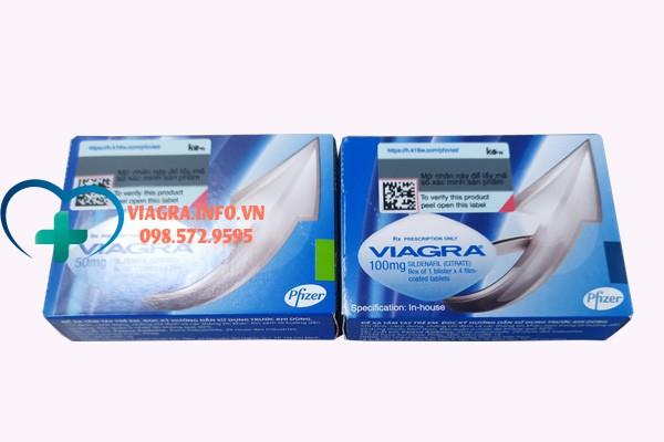 Hộp thuốc Viagra 50mg và Viagra 100mg